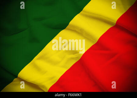 Wavy and rippled national flag of Republic of the Congo background. - Stock-Bilder
