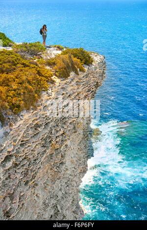 The limestone cliff, Bonifacio, South Coast of Corsica Island, France - Stock-Bilder
