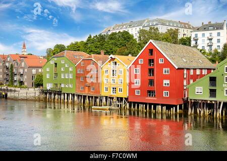 Colorful historic storage houses in Trondheim, Norway - Stock-Bilder