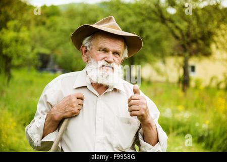 Old farmer with beard working with rake in garden - Stock-Bilder