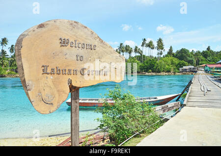 Welcome to Labuan Cermin signboard - Stock Image