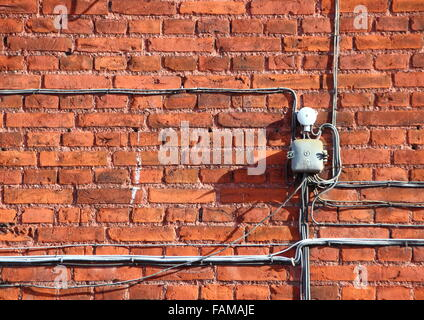 Old electrical plug wire stock photos & old electrical plug wire on install electrical outlet brick wall Install Light Switch Install Electrical Outlet Box
