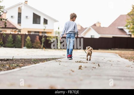 Rear view of boy walking with dog on footpath - Stock Image
