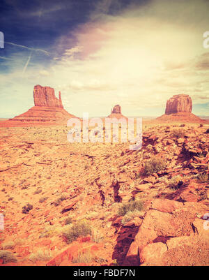 Vintage stylized picture of the Monument Valley, USA. - Stock-Bilder