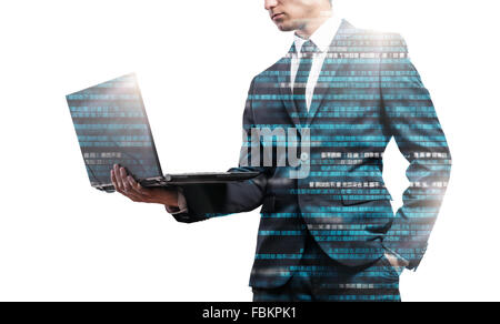 Double exposure of businessman. - Stock Image