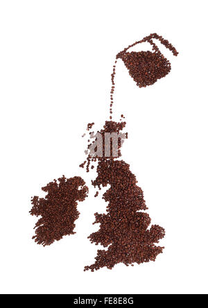 Pot of Coffee pouring Beans onto a Map of England, Ireland and Scotland. All Made from Brown, Fresh Roasted Coffee - Stock Image