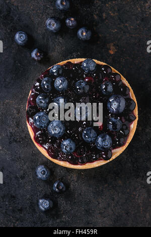 Tart with blueberries - Stock Image
