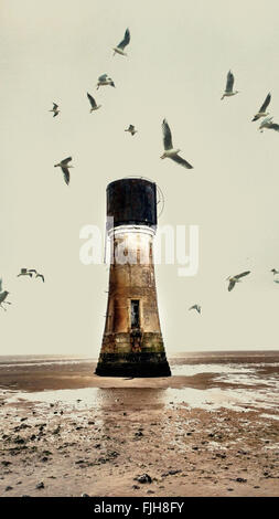 old abandoned lighthouse on the beach and seagulls - Stock-Bilder