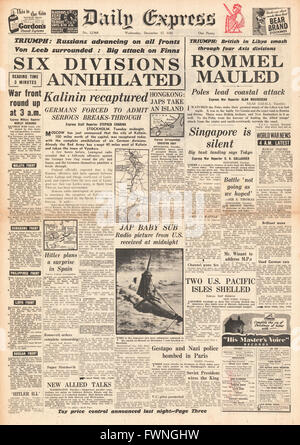 1941 front page Daily Express German Army defeated at Kalinin and Rommel's Africa Corps retreat in Libya - Stock Image