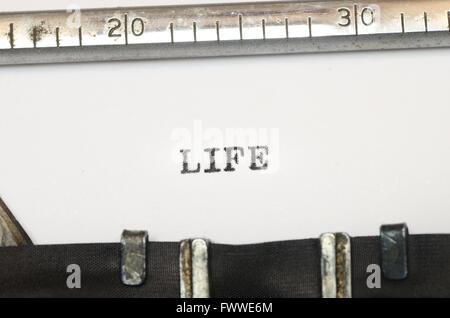 word life  typed on old typewriter - Stock Image