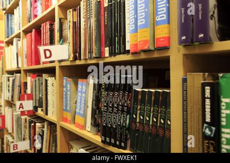 books on shelf in Strand Bookstore in Greenwich Village, Manhattan, New York City, USA - Stock Image