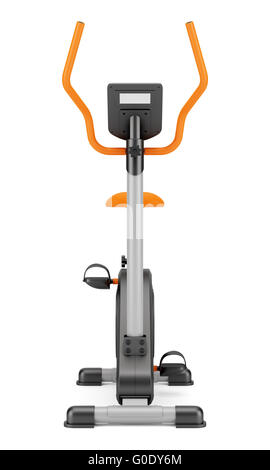 stationary exercise bike isolated on white - Stock Image