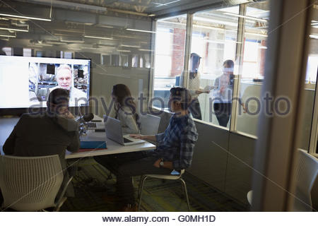 Business people meeting in video conference - Stock Image