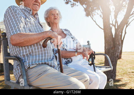 Senior couple sitting on a park bench with walking stick. Elderly couple relaxing outdoors on a summer day. - Stock-Bilder