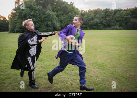 Two children in costume for Halloween Night. - Stock-Bilder