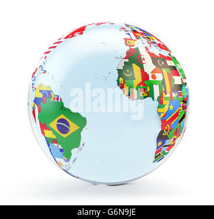 3D globe with national flags - Stock-Bilder