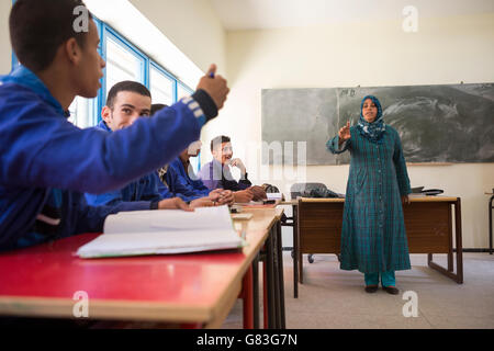 Students learn in a vocational training course in Agadir, Morocco. - Stock-Bilder