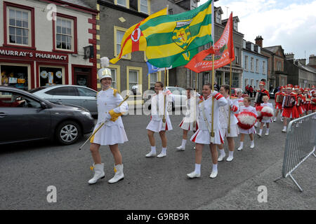 Marching Band Competition and Parade, Ramelton, County Donegal, Ireland / Majorettes, Rathmelton - Stock Image