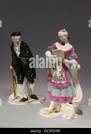fine arts, porcelain, figures, Anselmo and Corinne, Franz Anton Bustelli, Nymphenburg Porcelain Manufactory, circa - Stock Image