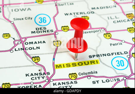 Missouri State Map Stock Photos Missouri State Map Stock Images - Missouri on map of usa