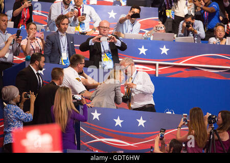 Cleveland, Ohio, USA; July 21, 2016:  Code Pink founder Medea Benjamin infiltrates the Republican National Convention - Stock Image
