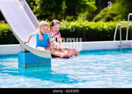 Water float slide stock photos water float slide stock for Beaver pool piscine