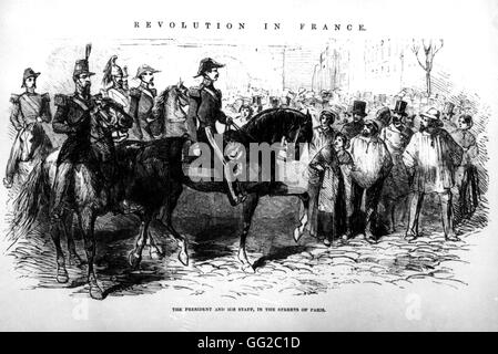 President Louis Napoleon Bonaparte in the streets of Paris with his staff, after his coup. December 2, 1851 France - Stock-Bilder