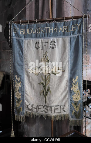 St Marys & All Saints Church Gt Budworth Interior, Cheshire, England,UK - Flag Arley GFS Chester - Stock Image