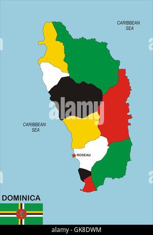 Map Of Dominica Stock Photos Map Of Dominica Stock Images Alamy - Map of dominica caribbean sea