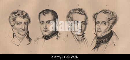 PHYSIOGNOMY: Cuvier. Napoléon. Jacques-Louis David. Chateaubriant, print 1834 - Stock-Bilder