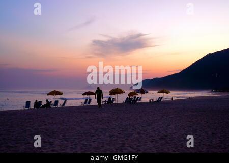 Maresias beach at sundown in the Sao Paulo district of Brazil - Stock Image