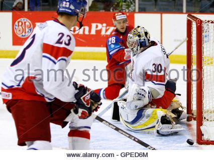 Russia's Nikita Filatov (28) hits the goal post as he shoots on Czech Republic's goalie Jakub Sedlacek (30) - Stock Image