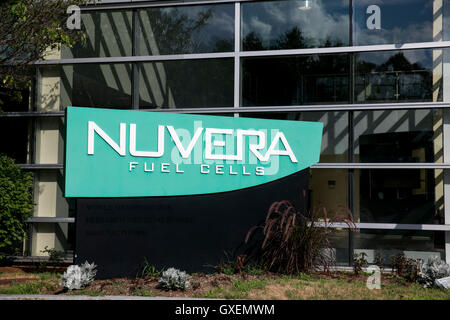 A logo sign outside of the headquarters of Nuvera Fuel Cells in Billerica, Massachusetts on August 14, 2016. - Stock Image