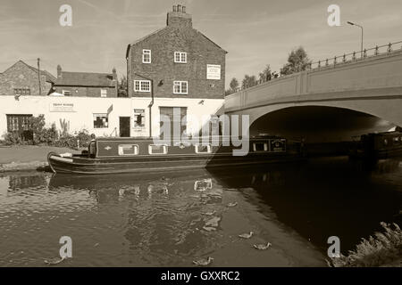 Thorn Marine Boatyard and shop,Stockton Heath,Warrington,England B/W - Stock Image