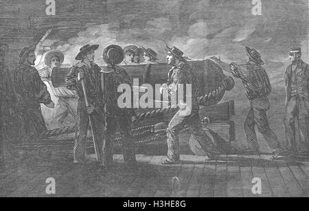 SHIPS Gunnery practice-loading-St Jean D'Acre 1854. Illustrated London News - Stock Image