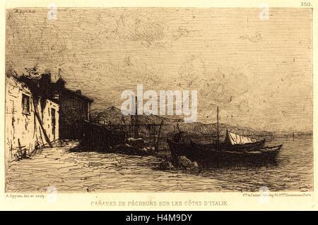 Adolphe Appian, French (1818-1898), Cabanes de pecheurs sur les cotes d'Italie, etching - Stock-Bilder