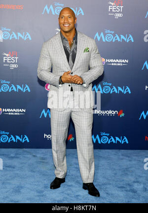 Hollywood, California, USA. 14th November, 2016. Dwayne Johnson at the AFI FEST 2016 Premiere of 'Moana' - Stock-Bilder