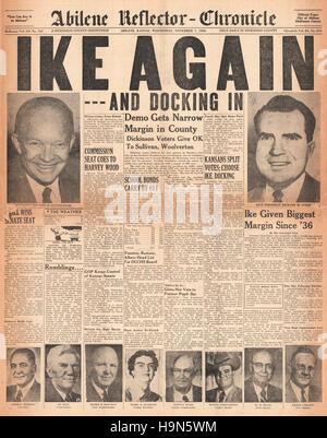 1956 Abilene Reflector-Chronicle (USA)  front page Dwight D Eisenhower elected 35th President of the United States - Stock Image