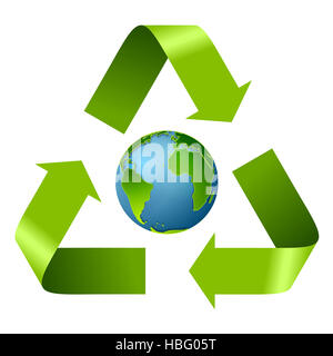 Earth Day design with recycle arrows - Stock Image