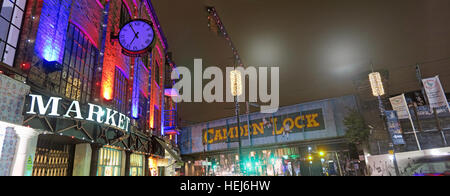Camden Town Lock & Market at Night, North London, England, UK pano - Stock Image