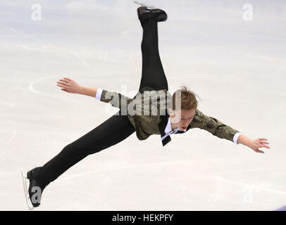 Chelyabinsk, Russia. 23rd Dec, 2016. Figure skater Alexander Petrov performs his men's free skating program - Stock Image