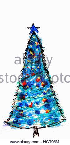 Blue Christmas tree - Stock-Bilder