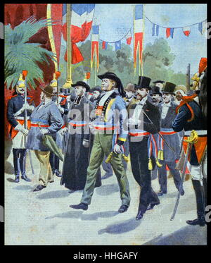 Illustration showing the procession of the Mayors of France, at the Exposition Universelle of 1900. - Stock Image