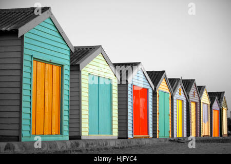 Beach huts in Melbourne, Australia - Stock Image
