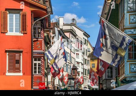 Augustiner alley, Augistinergasse, historic center, flags,  Zurich, Switzerland - Stock Image