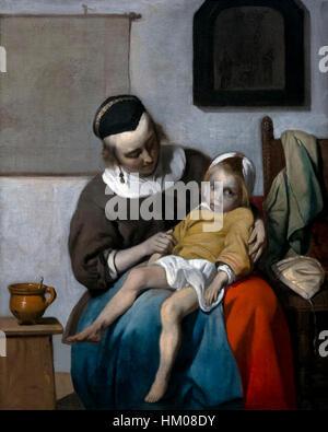 The Sick Child, by Gabriel Metsu, 1663, oil on canvas, Rijksmuseum, Amsterdam, Netherlands, Europe, - Stock Image