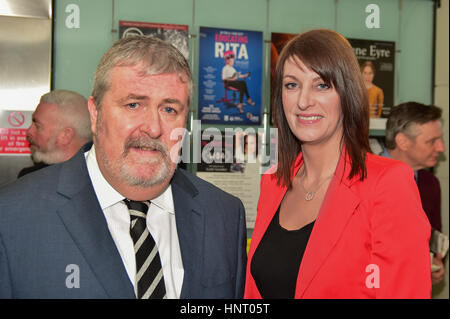 Armagh City, UK. 15th February 2017. Mid Ulster Sinn Féin Election Candidates Cathal ÓHoisin and Linda - Stock Image