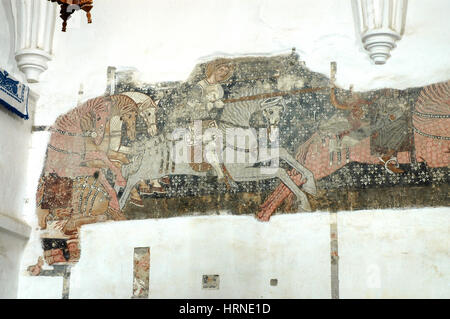 Mural painting 13th century church stock photos mural for Church mural restoration
