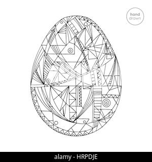 Easter Egg Vector Illustration Hand Drawn Abstract Holidays Design In Modern Style Coloring Page