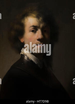 Portrait of Rembrandt with a Gorget, circa 1630, Royal Art Gallery, Mauritshuis Museum, The Hague, Netherlands, - Stock Image